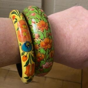5/$25 set of two wooden hand painted bangles.